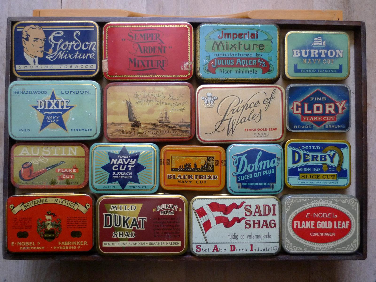 17 Danske Tobaksdåser Gamle Dåser