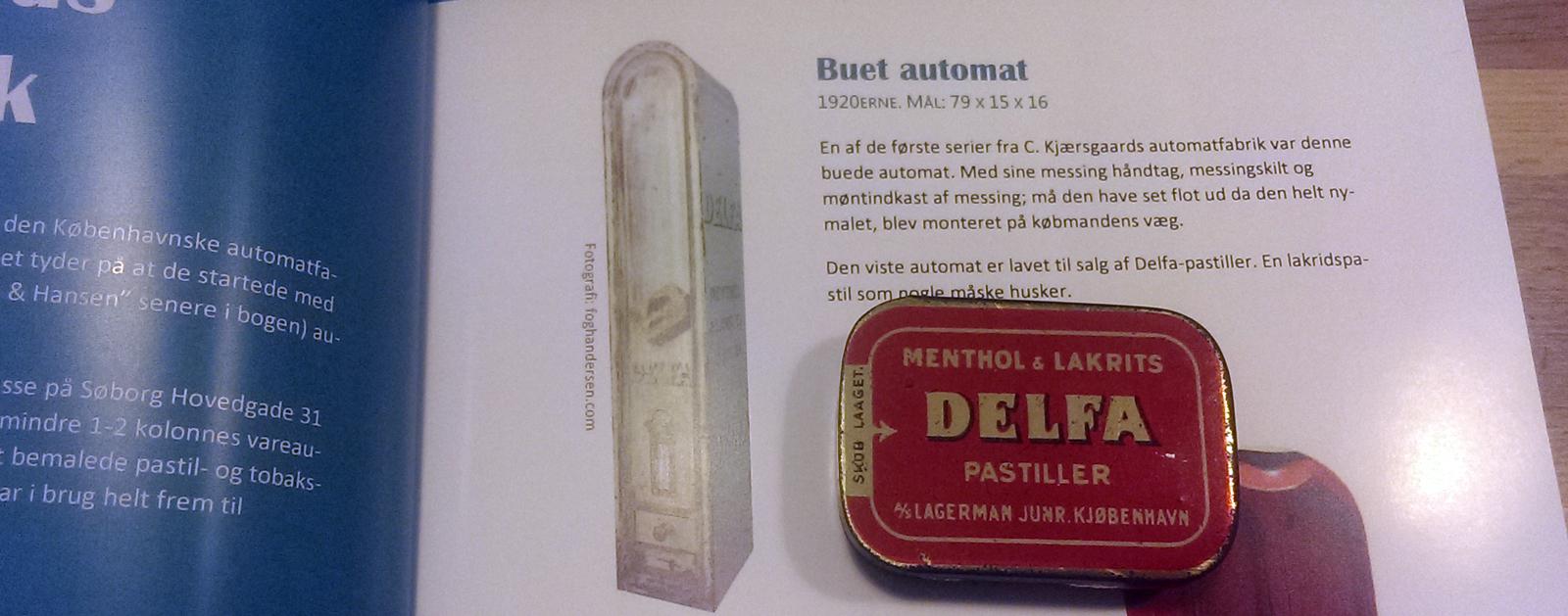billede af delfaautomat med delfa dåser fra bogen om danske vareautomater